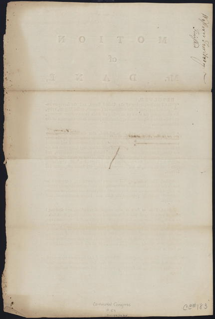 Motion of Mr. Dane : resolved, that the geographer of the United States, and the surveyors appointed pursuant to the ordinance of Congress, passed May 20, 1785, for ascertaining the mode of disposing of lands in the Western Territory, and who have accepted their appointments proceed in the execution of the said Ordinance ...