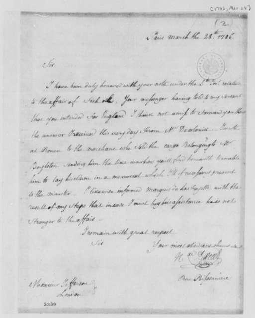 Nicolas Darcel to Thomas Jefferson, March 28, 1786