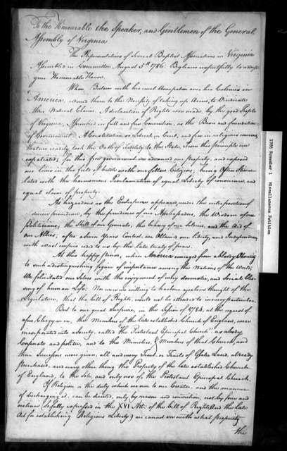 November 1, 1786, Miscellaneous, Baptist Association, against incorporation act.