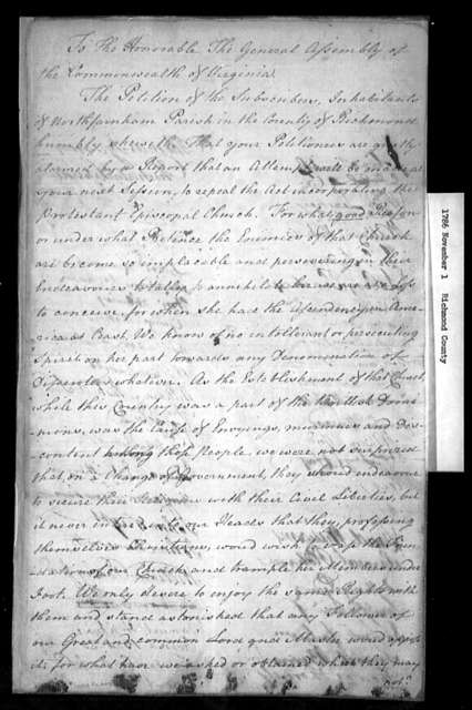 November 1, 1786, Richmond County, North Farnham Parish, opposed to repeal.