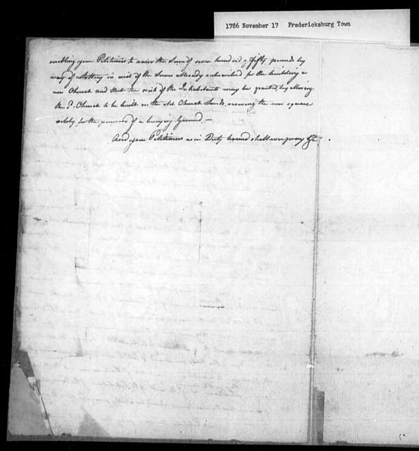 November 17, 1786, Fredericksburg Town, Trustees of Protestant Episcopal Church, for lottery to raise funds needed to build new church.