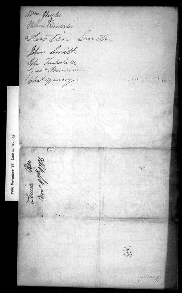 November 17, 1786, Louisa, Vestry of Trinity Parish, against repeal.