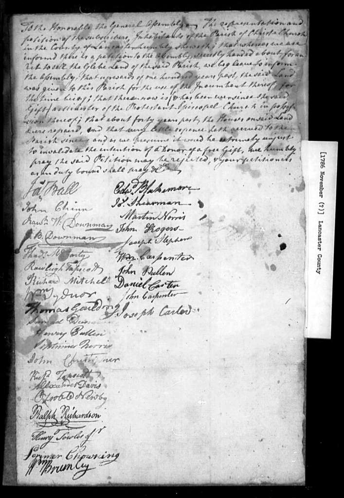 November, 1786, Lancaster, Christ Church Parish inhabitants for rejection of petition which asks for sale of glebe lands of the parish.
