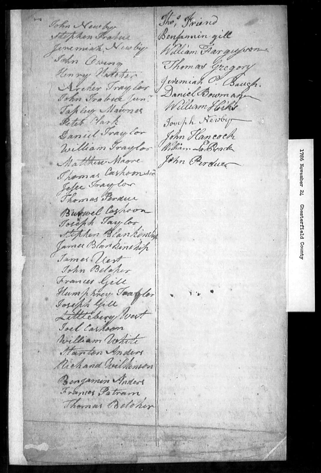 November 24, 1786, Chesterfield, Opposed to incorporation act.