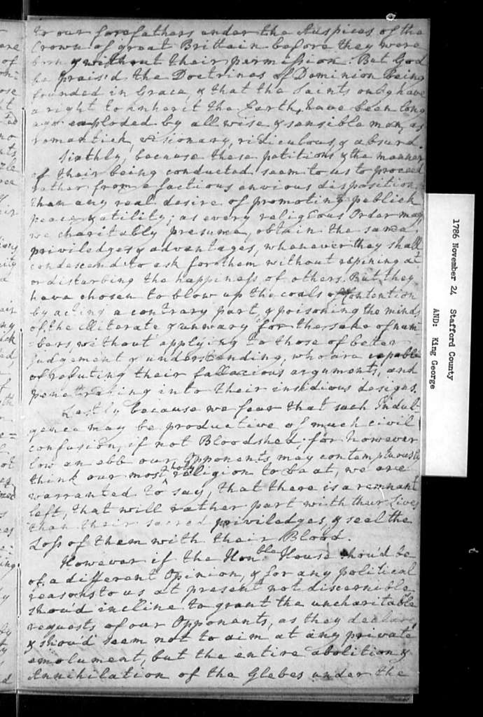 November 24, 1786, Stafford, King George, Vestry, etc., of Brunswick Parish, opposed to repeal of incorporation act and to sale of glebes, etc.
