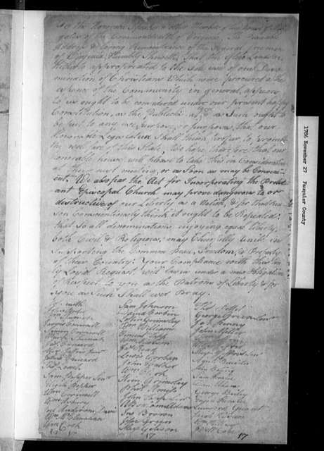 November 27, 1786, Fauquier, For repeal.