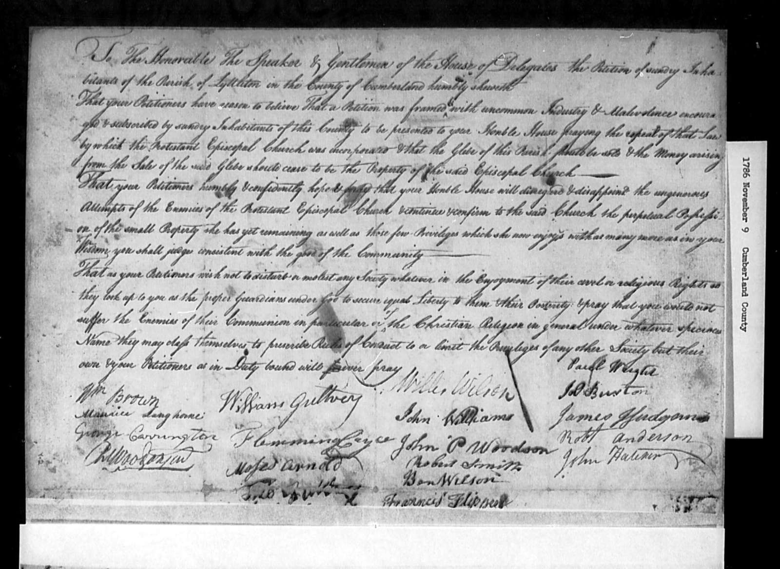 November 9, 1786, Cumberland, Lyttleton Parish, opposed to repeal.