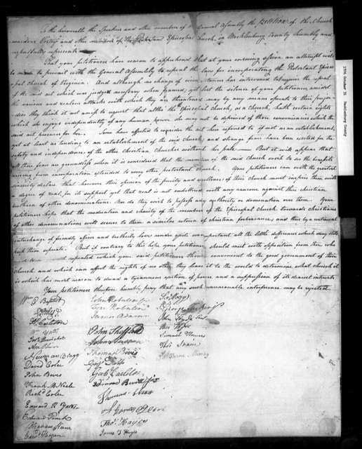 October 31, 1786, Mecklenburg, Churchwardens, vestry, etc., opposed to repeal.