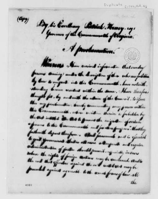 Patrick Henry, October 14, 1786, Proclamation Commanding Illegal Residents to Leave Virginia; with Copy