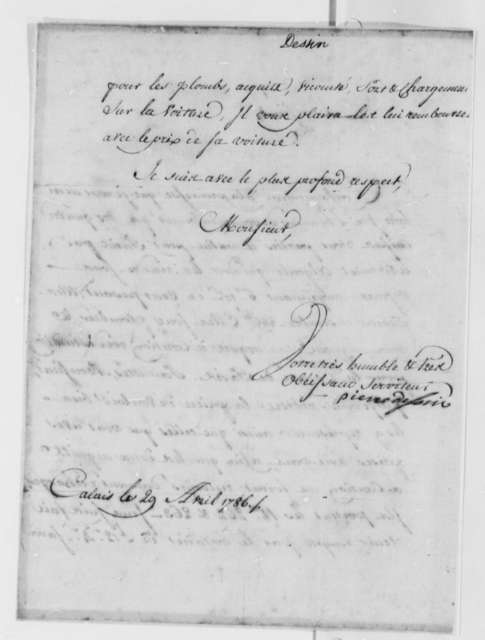 Pierre Dessin to Thomas Jefferson, April 29, 1786, in French