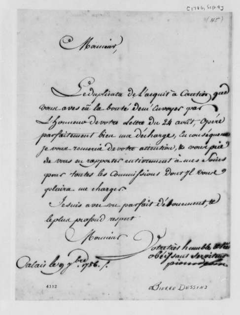 Pierre Dessin to Thomas Jefferson, September 9, 1786, in French