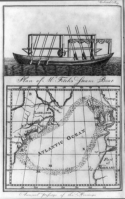 Plan of Mr. Fitch's steam boat Annual passage of the herrings.