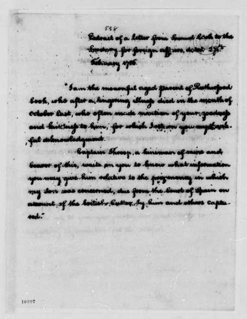 Samuel Cook to John Jay, February 26, 1786, Extract
