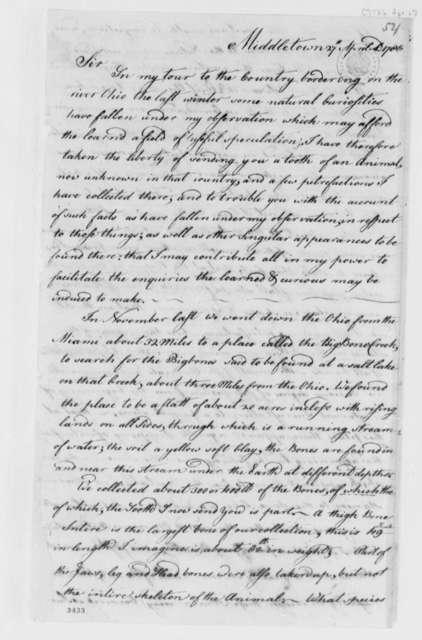 Samuel H. Parsons to Ezra Stiles, April 27, 1786, Exploration along Ohio River; Indian Mounds