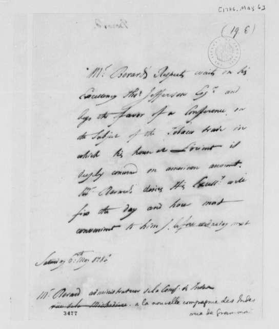 Simon Berard to Thomas Jefferson, May 6, 1786, in French
