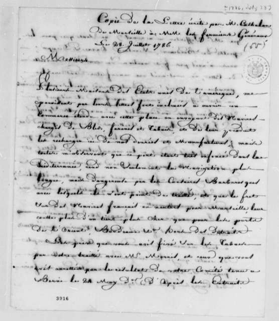 Stephen Cathalan Jr. to Farmers General, July 28, 1786, American Tobacco Trade with Southern French Ports; in French