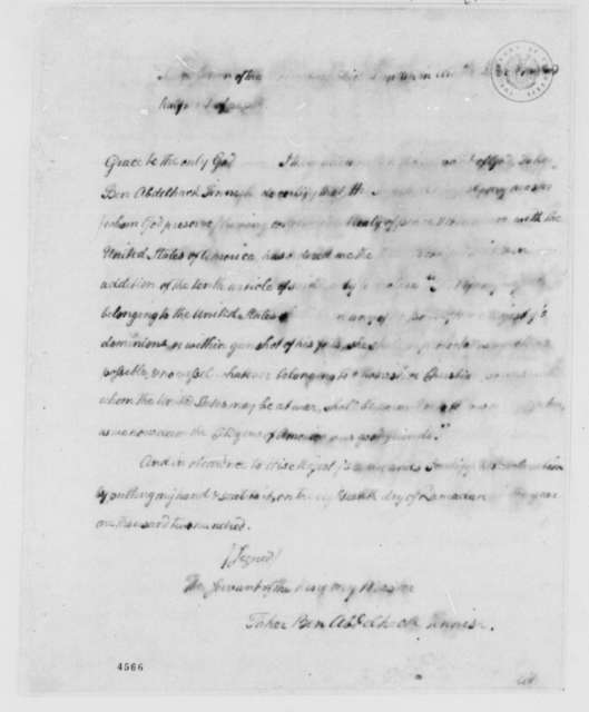 Taher ben Abdelhack Fennish to American Peace Commissioners, June 28, 1786, Addition to Article X of Treaty Between Morocco and the United States