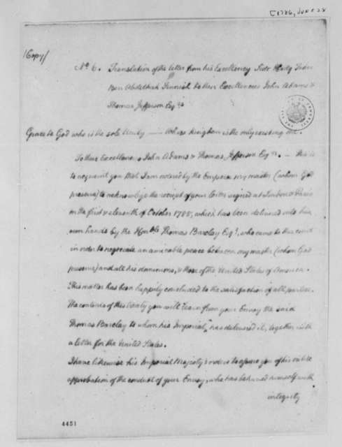 Taher ben Abdelhack Fennish to American Peace Commissioners, June 28, 1786, English Translation of Letter Announcing Peace Treaty Between Morocco and the United States