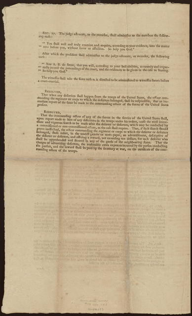 The committee consisting of Mr. St. Clair, Mr. Lee and Mr. Lawrance, to whom was referred a report of the secretary at war, on the articles of war and courts-martial, report as follows ...