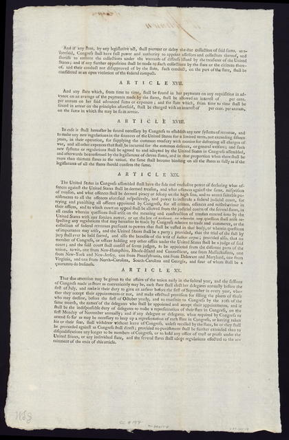 The grand committee, consisting of Mr. Livermore, Mr. Dane, Mr. Manning, Mr. Johnson, Mr. Smith, Mr. Symmes, Mr. Pettit, Mr. Henry, Mr. Lee, Mr. Bloodworth, Mr. Pinckney and Mr. Houstoun, appointed to report such amendments to the Confederation, and such resolutions as it may be necessary to recommend to the several states, for the purpose of obtaining from them such powers as will render the federal government adequate to the ends for which it was instituted, beg leave to submit the following report to the consideration of Congress ...