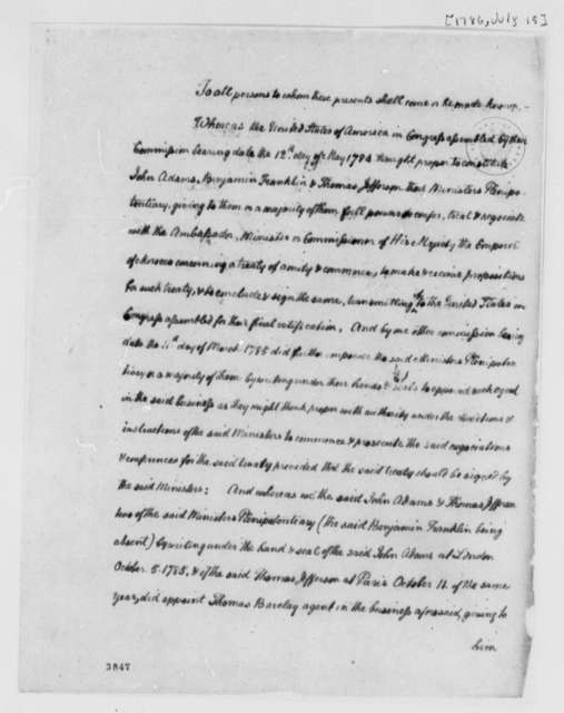 Thomas Barclay, July 15, 1786, Preamble to Treaty of Peace and Friendship Between Morocco and the United States