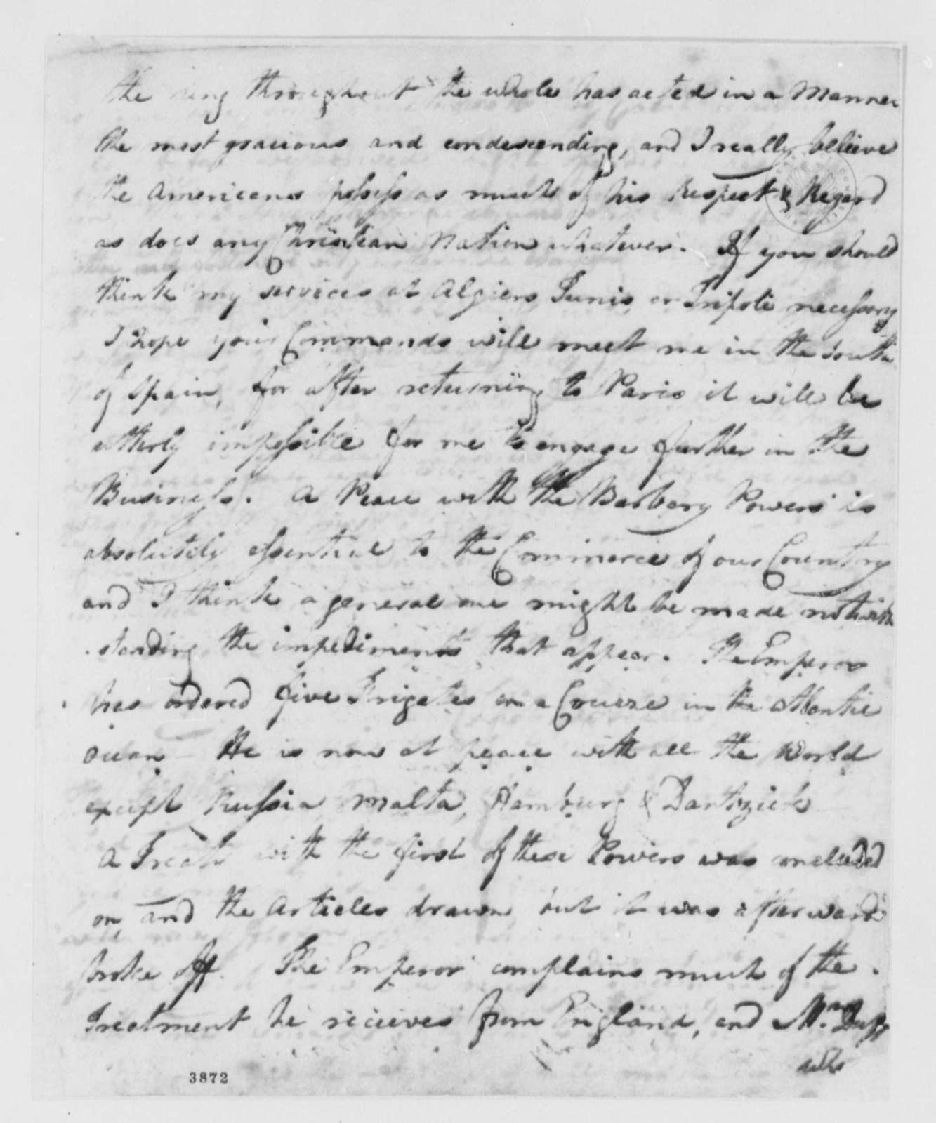 Thomas Barclay to American Peace Commissioners, July 16, 1786, with Copy