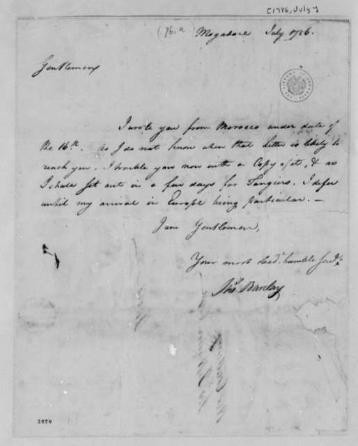 Thomas Barclay to American Peace Commissioners, July 1786