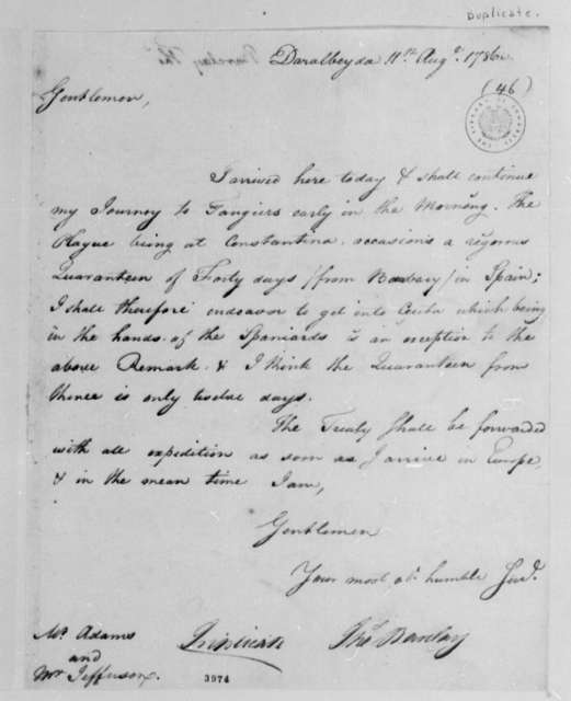 Thomas Barclay to Peace Commissioners, August 11, 1786, with Copy