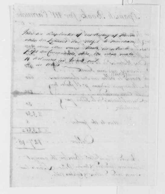 Thomas Barclay to Thomas Jefferson, May 26, 1786, with Receipted Invoice for Purchase of Spanish Books for William Carmichael