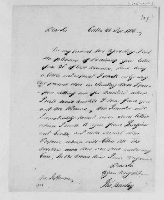 Thomas Barclay to Thomas Jefferson, September 26, 1786