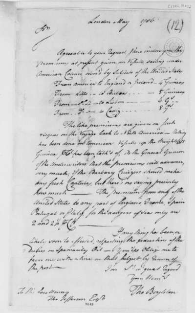 Thomas Boylston to Thomas Jefferson, May 1786, Maritime Insurance Premiums