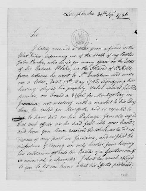 Thomas Burke to Alderman Broom, September 30, 1786.