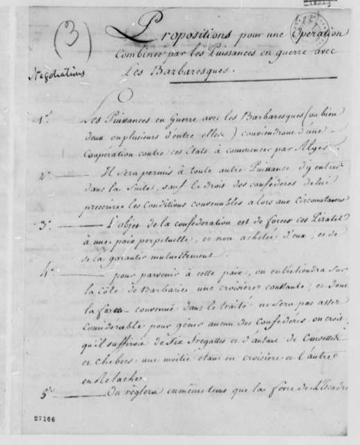 Thomas Jefferson, 1786, Proposals for Confederation Against the Barbary States; in French
