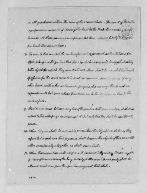 Thomas Jefferson, 1786, Proposals for War Powers Against the Barbary States; with Copy