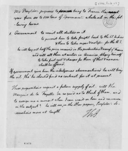 Thomas Jefferson, February 25, 1786, Memo on Thomas Boylston's Whale Oil Proposal to France