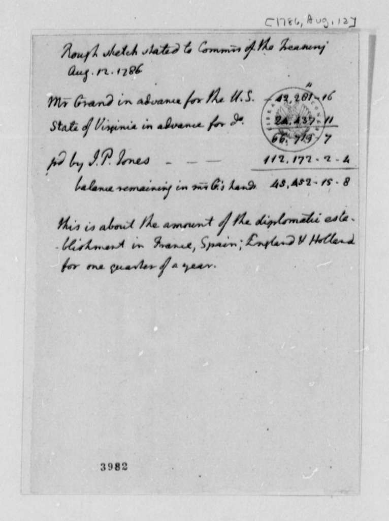 Thomas Jefferson Ferdinand Grand, August 12, 1786, Memorandum on Finances for American Foreign Ministers in Europe
