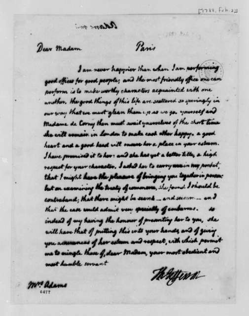 Thomas Jefferson to Abigail Smith Adams, November 1786, Introduction of Madame de Corny