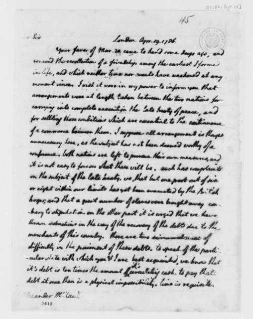 Thomas Jefferson to Alexander McCaul, April 19, 1786