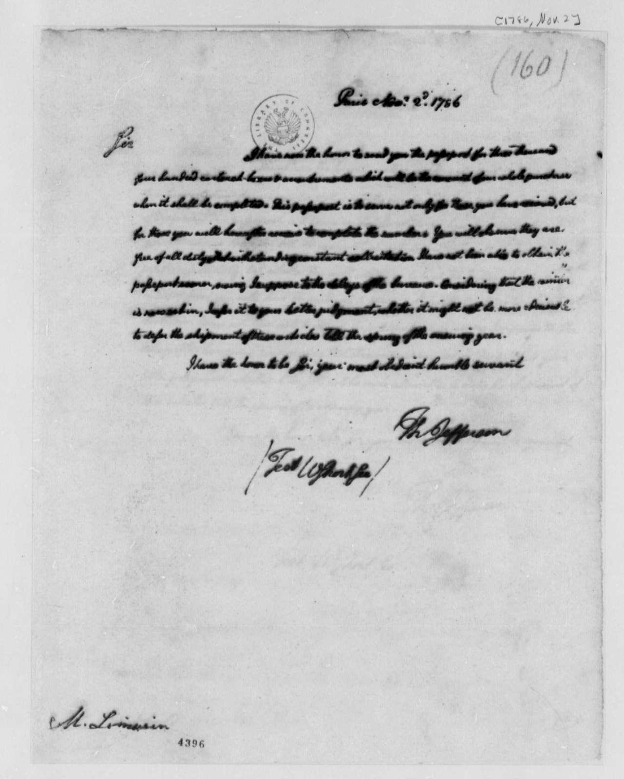 Thomas Jefferson to Andre Limozin, November 2, 1786