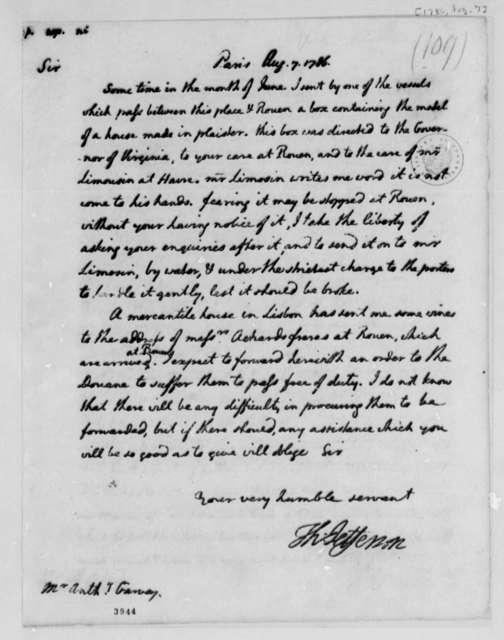 Thomas Jefferson to Anthony Garvey, August 7, 1786