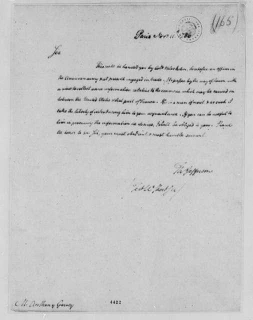 Thomas Jefferson to Anthony Garvey, November 11, 1786