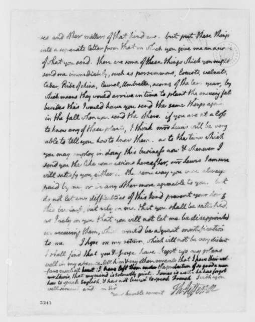Thomas Jefferson to Antonio Giannini, February 5, 1786, with List of Seeds Wanted