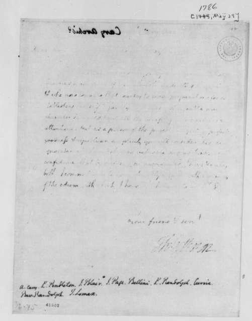 Thomas Jefferson to Archibald Cary, et al, May 29, 1786, Introduction of John Paradise