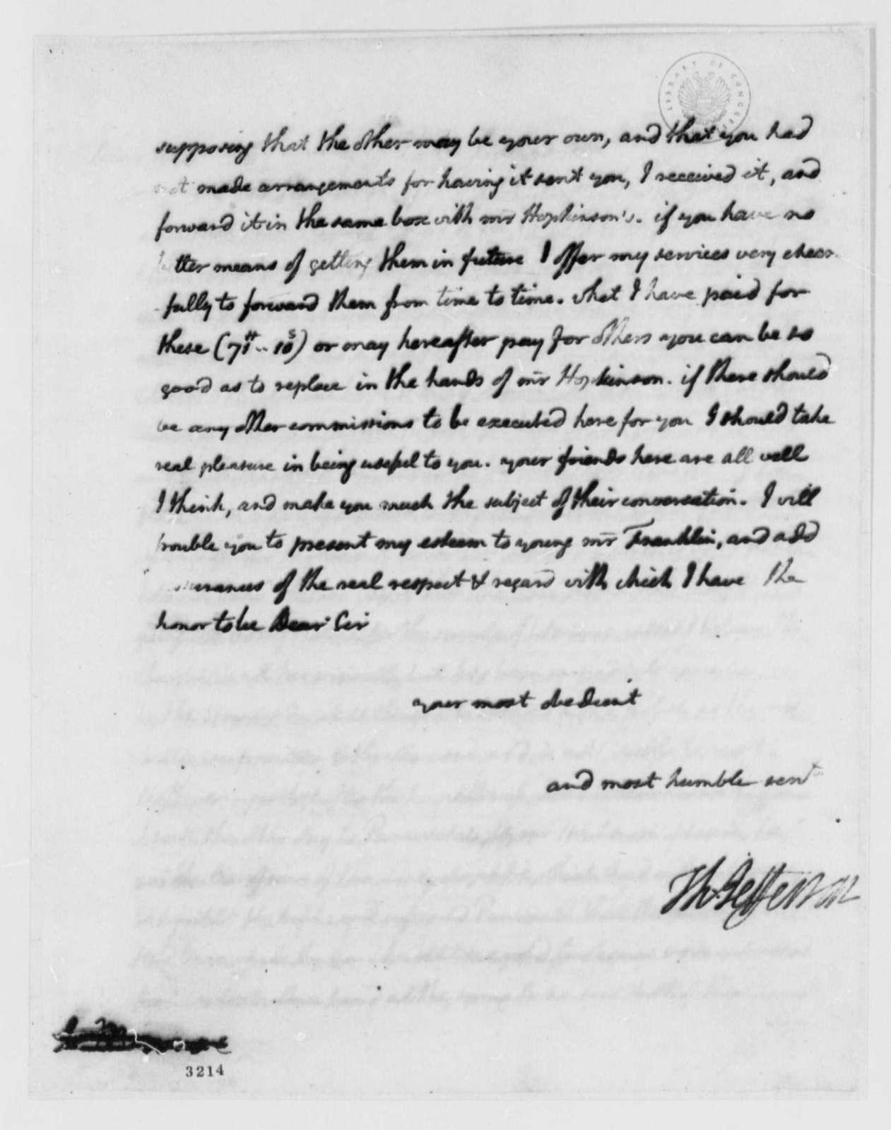 Thomas Jefferson to Benjamin Franklin, January 27, 1786