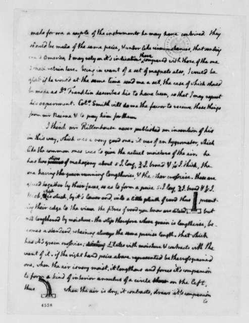 "Thomas Jefferson to Benjamin Vaughan, December 29, 1786, with Jefferson's Drawings of ""Hygrometer"""