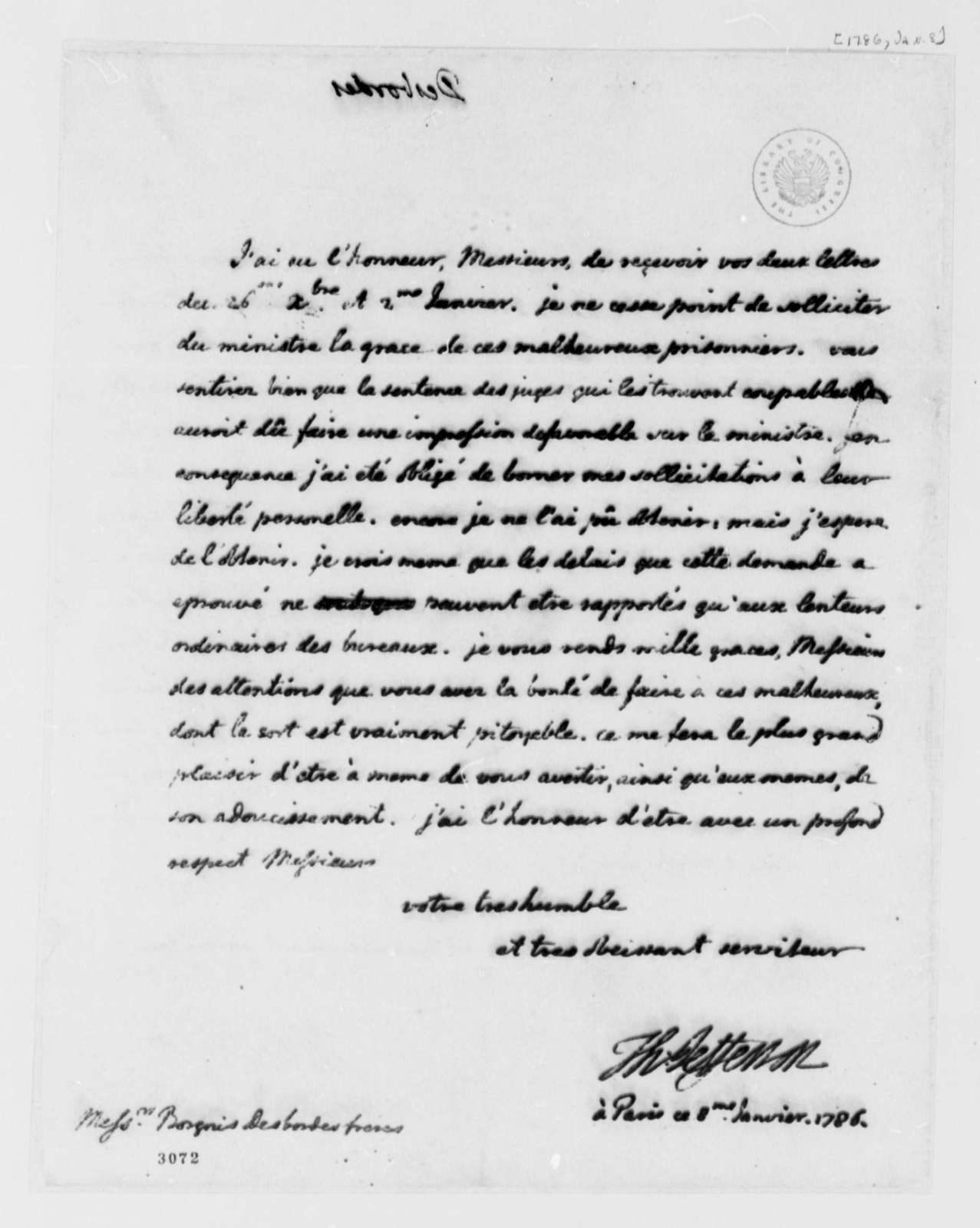 Thomas Jefferson to Borgnis Desbordes, Freres, January 8, 1786, Lister Asquith's Maritime Law Case; William & Catherine (ship); in French