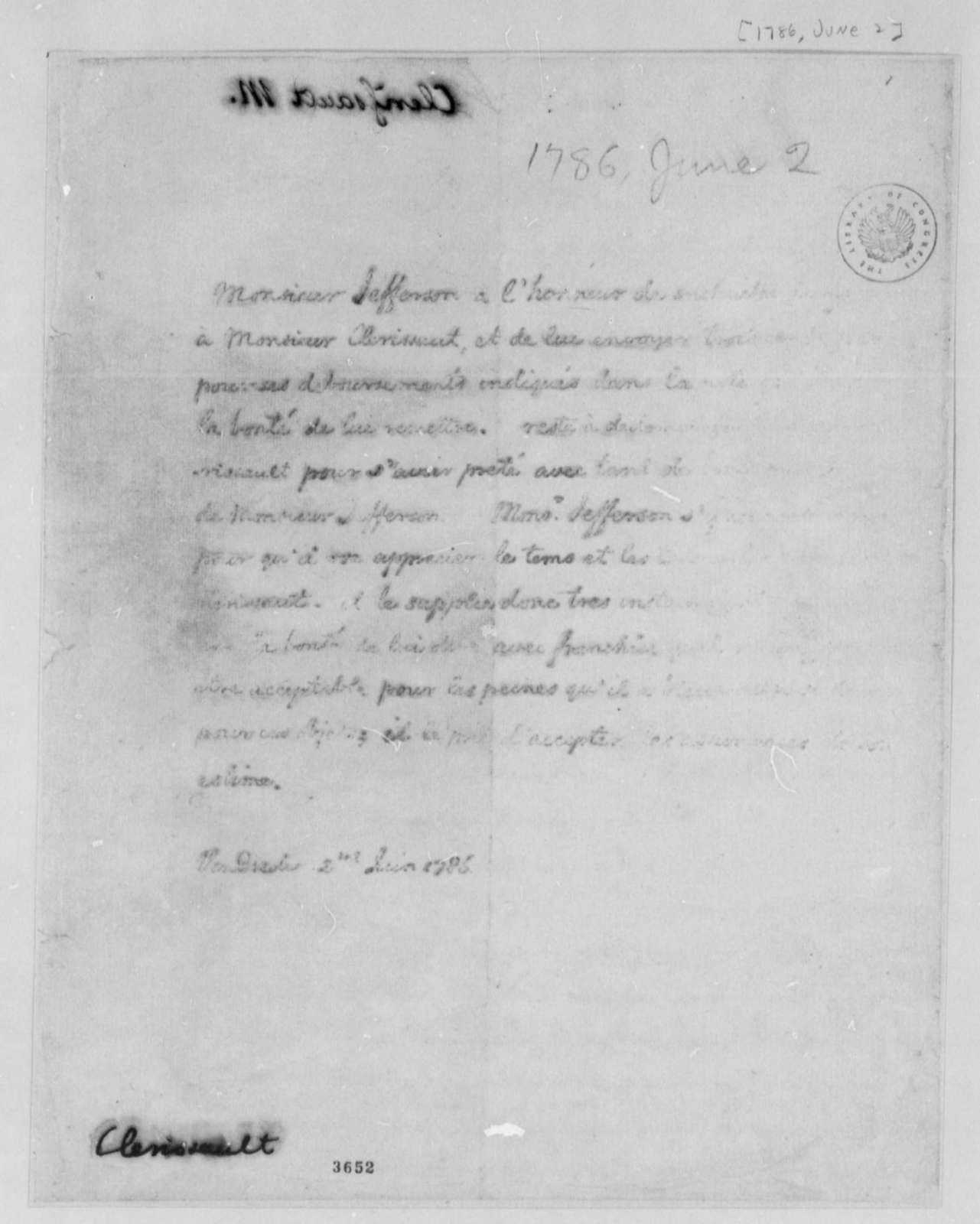 Thomas Jefferson to Charles Clerisseau, June 2, 1786
