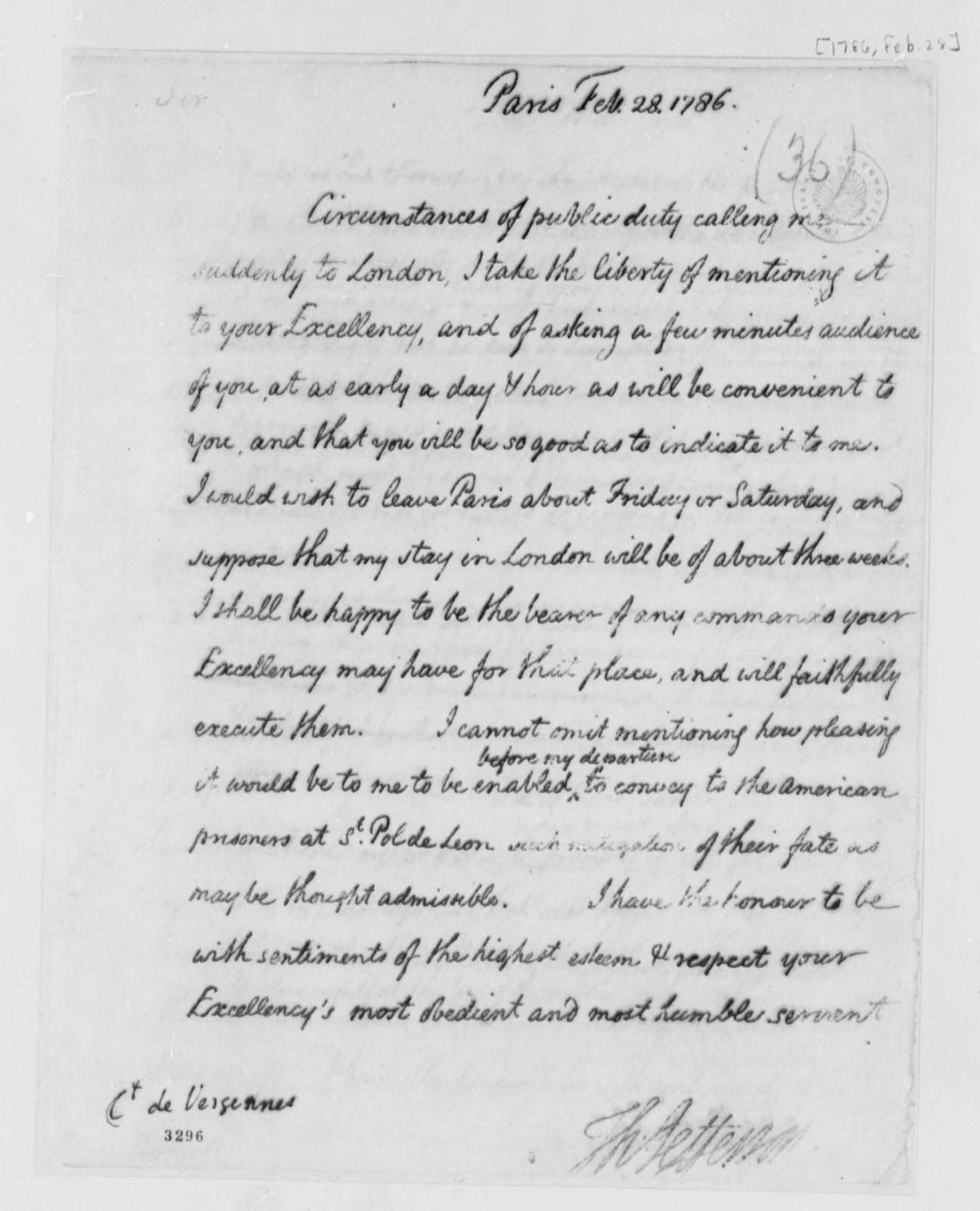 Thomas Jefferson to Charles Gravier, Comte de Vergennes, February 28, 1786