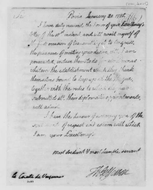 Thomas Jefferson to Charles Gravier, Comte de Vergennes, January 20, 1786
