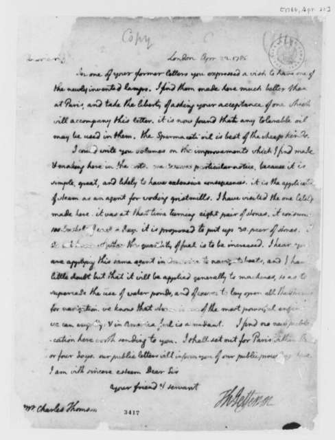 Thomas Jefferson to Charles Thomson, April 22, 1786, Oil Lamps; with Copy and Estimate of United States Imports